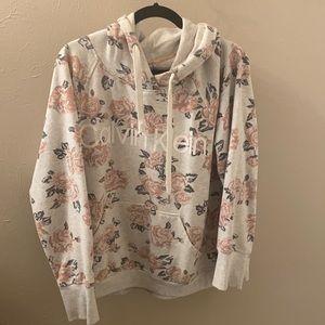 Grey and floral hoodie